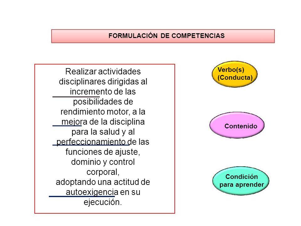 FORMULACIÓN DE COMPETENCIAS Realizar actividades disciplinares dirigidas al incremento de las posibilidades de rendimiento motor, a la mejora de la di
