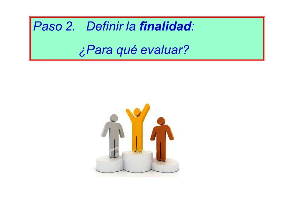 Paso 2. Definir la finalidad: ¿Para qué evaluar?