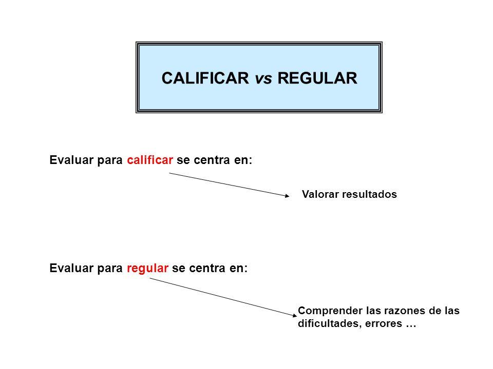CALIFICAR vs REGULAR Evaluar para calificar se centra en: Valorar resultados Evaluar para regular se centra en: Comprender las razones de las dificult