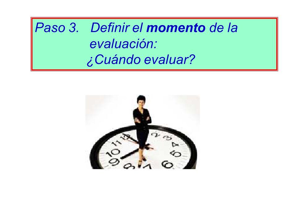 Paso 3. Definir el momento de la evaluación: ¿Cuándo evaluar?