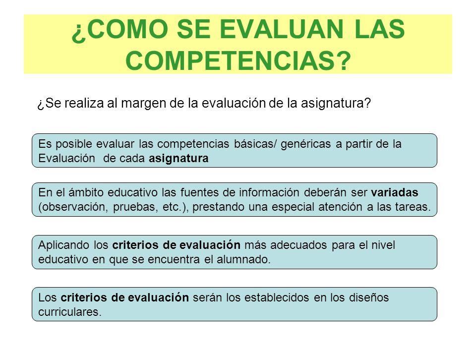 ¿COMO SE EVALUAN LAS COMPETENCIAS? Es posible evaluar las competencias básicas/ genéricas a partir de la Evaluación de cada asignatura En el ámbito ed