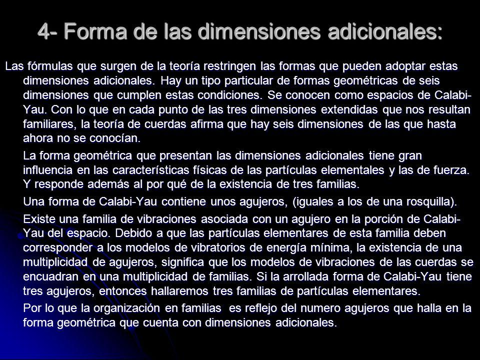 4- Forma de las dimensiones adicionales: Las fórmulas que surgen de la teoría restringen las formas que pueden adoptar estas dimensiones adicionales.