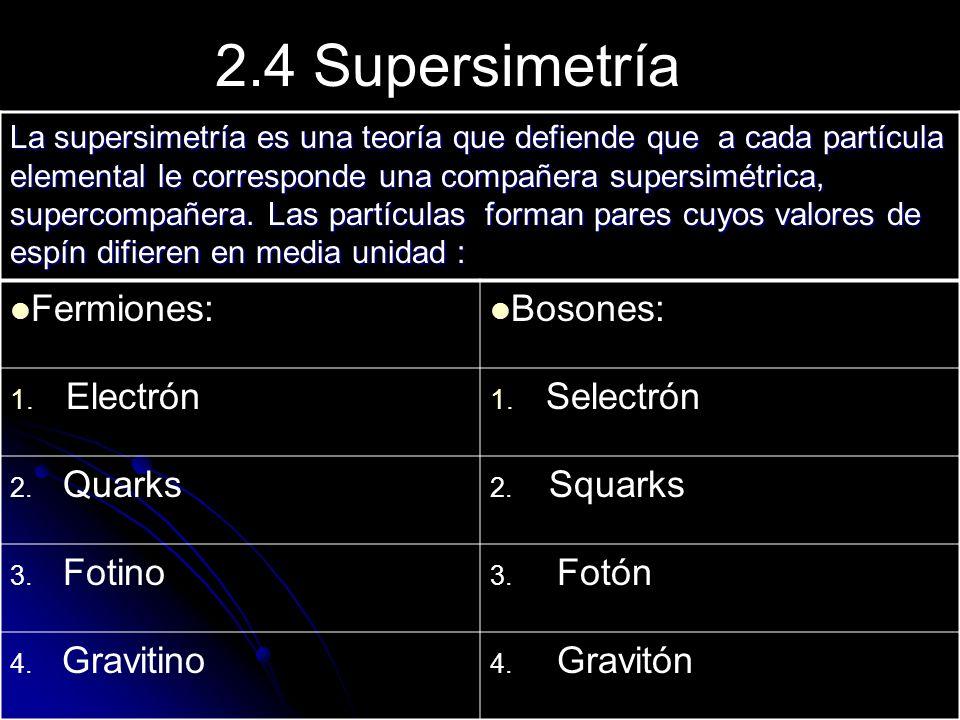2.4 Supersimetría La supersimetría es una teoría que defiende que a cada partícula elemental le corresponde una compañera supersimétrica, supercompañe