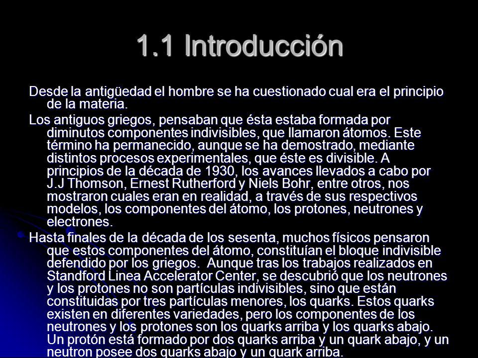 1.1 Introducción Desde la antigüedad el hombre se ha cuestionado cual era el principio de la materia. Los antiguos griegos, pensaban que ésta estaba f