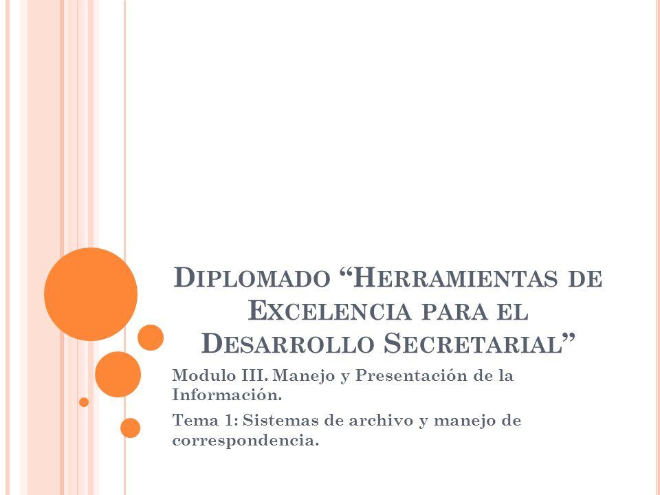 D IPLOMADO H ERRAMIENTAS DE E XCELENCIA PARA EL D ESARROLLO S ECRETARIAL Modulo III. Manejo y Presentación de la Información. Tema 1: Sistemas de arch