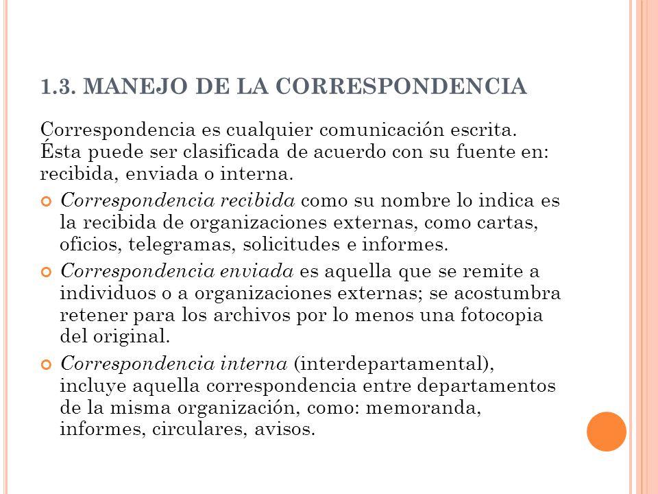 1.3. MANEJO DE LA CORRESPONDENCIA Correspondencia es cualquier comunicación escrita. Ésta puede ser clasificada de acuerdo con su fuente en: recibida,