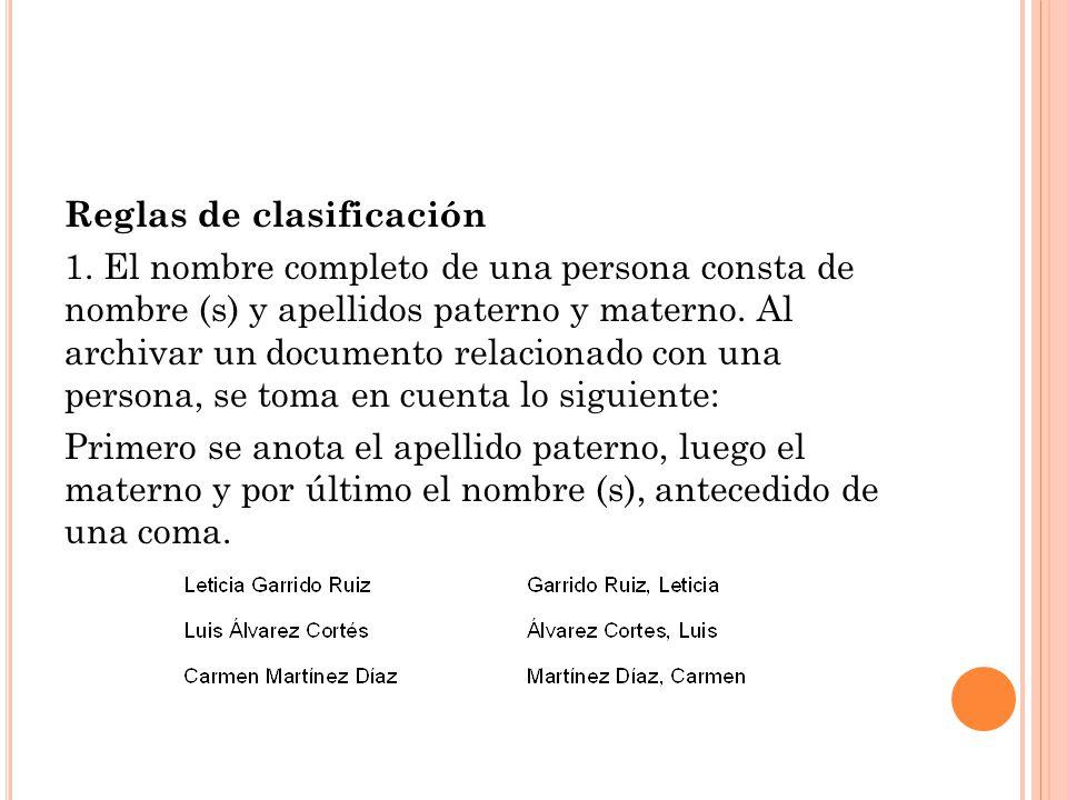 Reglas de clasificación 1. El nombre completo de una persona consta de nombre (s) y apellidos paterno y materno. Al archivar un documento relacionado