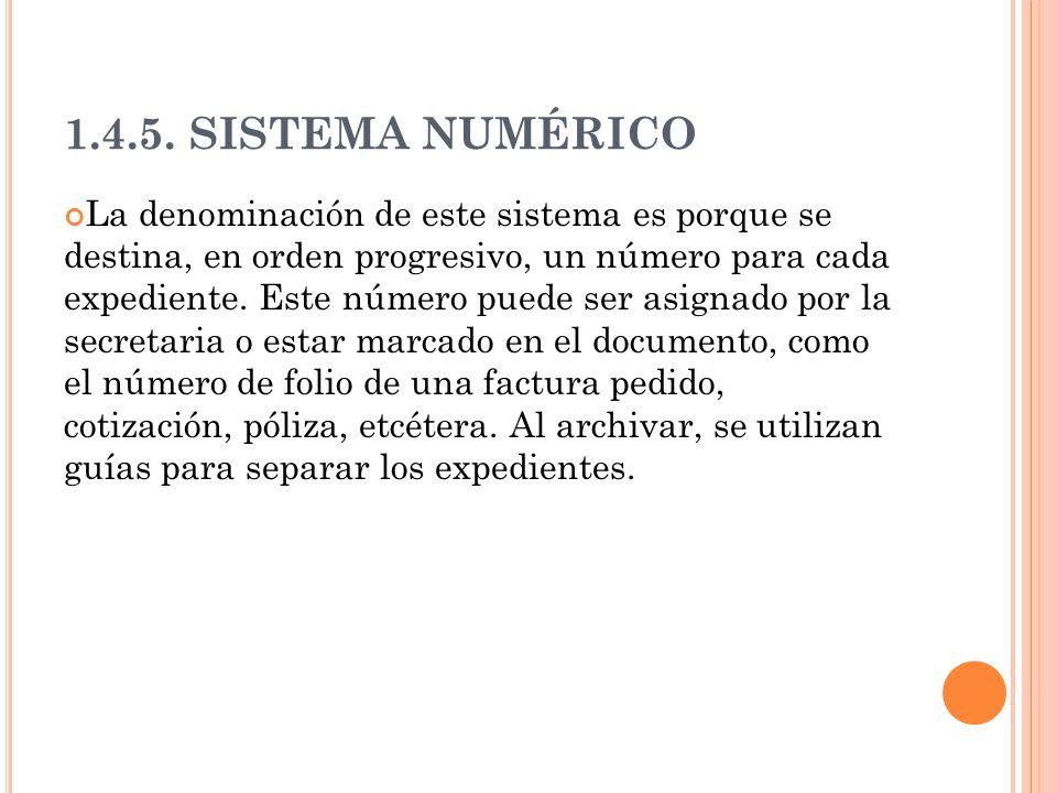 1.4.5. SISTEMA NUMÉRICO La denominación de este sistema es porque se destina, en orden progresivo, un número para cada expediente. Este número puede s