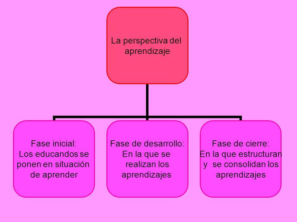La perspectiva del aprendizaje Fase inicial: Los educandos se ponen en situación de aprender Fase de desarrollo: En la que se realizan los aprendizaje