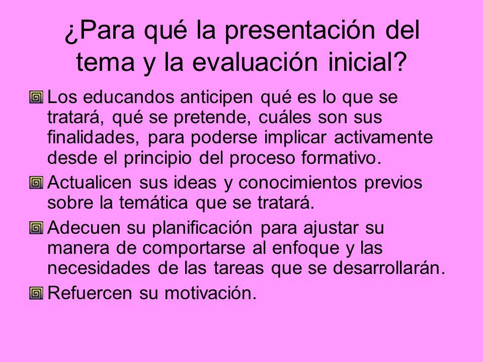 ¿Para qué la presentación del tema y la evaluación inicial? Los educandos anticipen qué es lo que se tratará, qué se pretende, cuáles son sus finalida