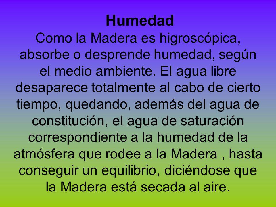 Humedad Como la Madera es higroscópica, absorbe o desprende humedad, según el medio ambiente. El agua libre desaparece totalmente al cabo de cierto ti