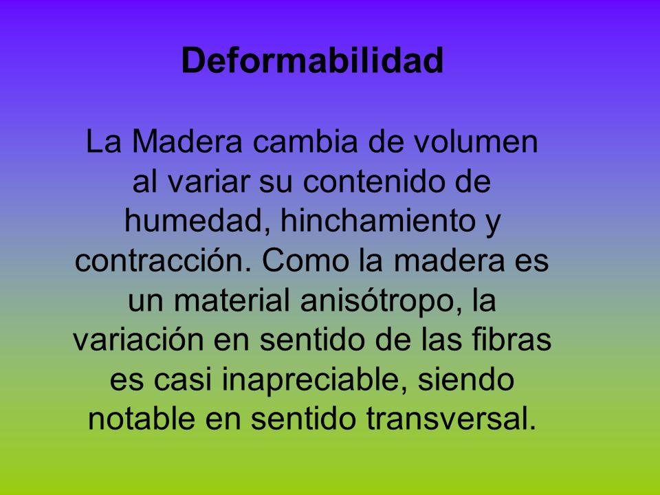 Deformabilidad La Madera cambia de volumen al variar su contenido de humedad, hinchamiento y contracción. Como la madera es un material anisótropo, la