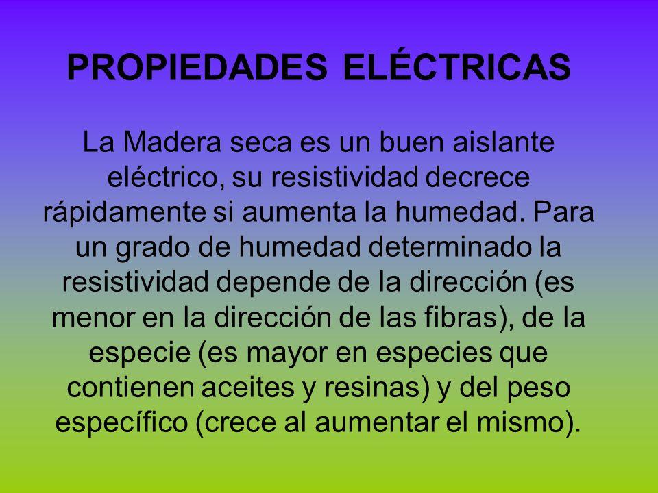 PROPIEDADES ELÉCTRICAS La Madera seca es un buen aislante eléctrico, su resistividad decrece rápidamente si aumenta la humedad. Para un grado de humed
