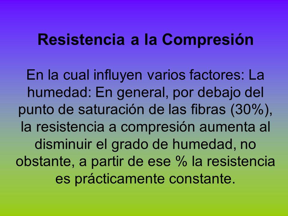 Resistencia a la Compresión En la cual influyen varios factores: La humedad: En general, por debajo del punto de saturación de las fibras (30%), la re