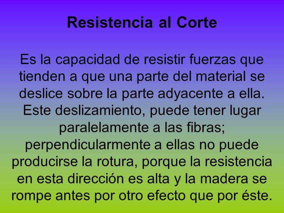 Resistencia al Corte Es la capacidad de resistir fuerzas que tienden a que una parte del material se deslice sobre la parte adyacente a ella. Este des