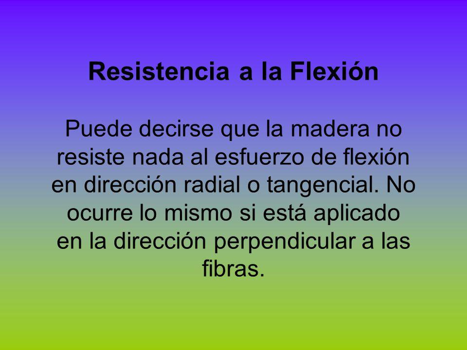 Resistencia a la Flexión Puede decirse que la madera no resiste nada al esfuerzo de flexión en dirección radial o tangencial. No ocurre lo mismo si es