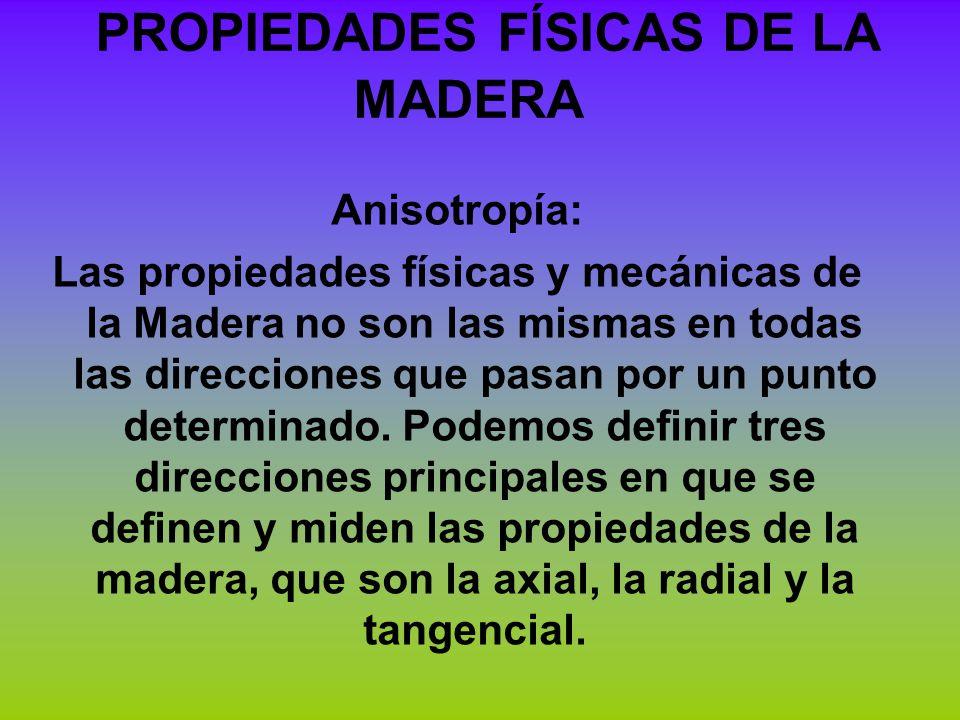 Anisotropía: Las propiedades físicas y mecánicas de la Madera no son las mismas en todas las direcciones que pasan por un punto determinado. Podemos d