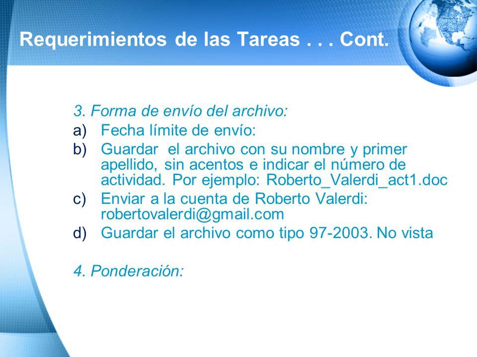 Requerimientos de las Tareas... Cont. 2. Datos de identificación del documento (no se contabilizan en la cuartilla): a)Nombre de la Universidad b)Nomb