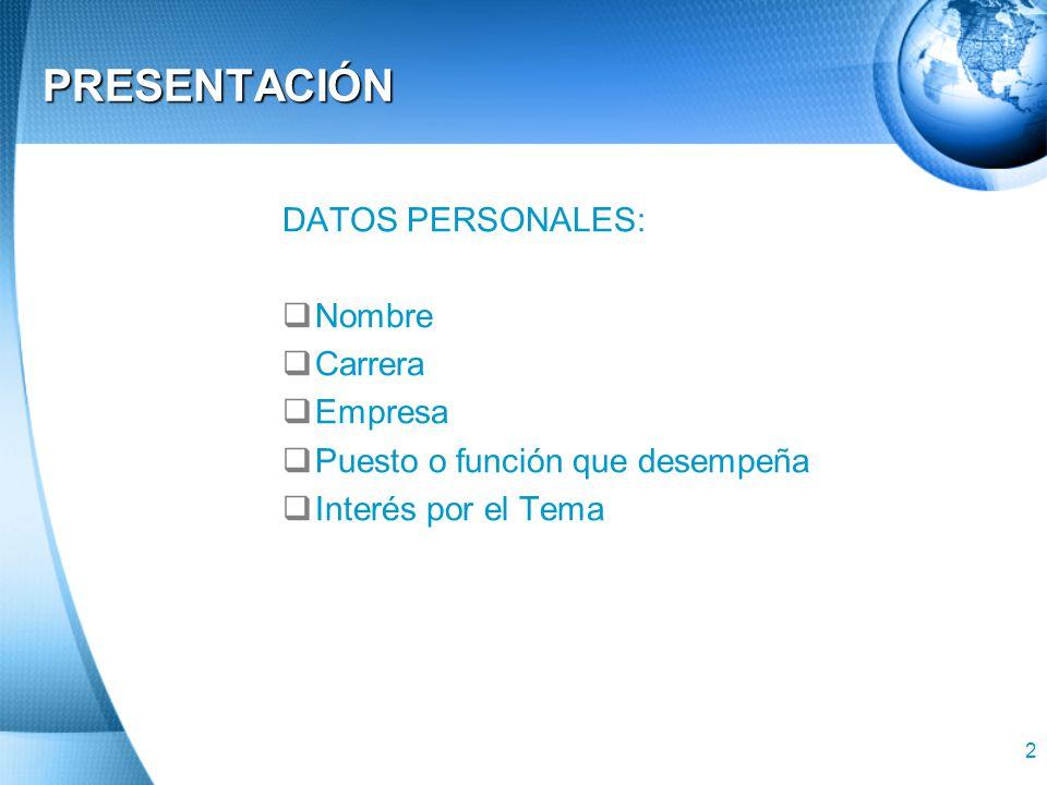 2 PRESENTACIÓN DATOS PERSONALES: Nombre Carrera Empresa Puesto o función que desempeña Interés por el Tema