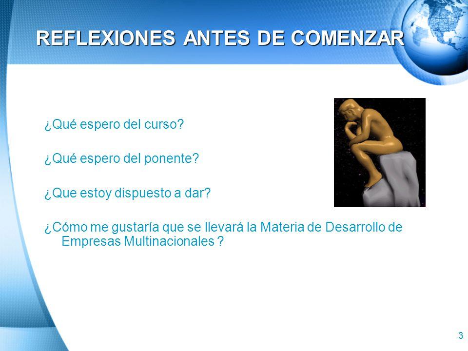 3 REFLEXIONES ANTES DE COMENZAR ¿Qué espero del curso.