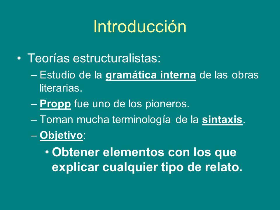 Introducción Teorías estructuralistas: –Estudio de la gramática interna de las obras literarias. –Propp fue uno de los pioneros. –Toman mucha terminol
