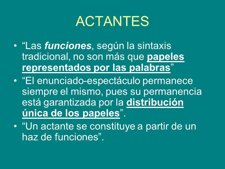 ACTANTES Las funciones, según la sintaxis tradicional, no son más que papeles representados por las palabras El enunciado-espectáculo permanece siempr