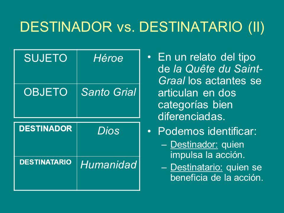 DESTINADOR vs. DESTINATARIO (II) En un relato del tipo de la Quête du Saint- Graal los actantes se articulan en dos categorías bien diferenciadas. Pod