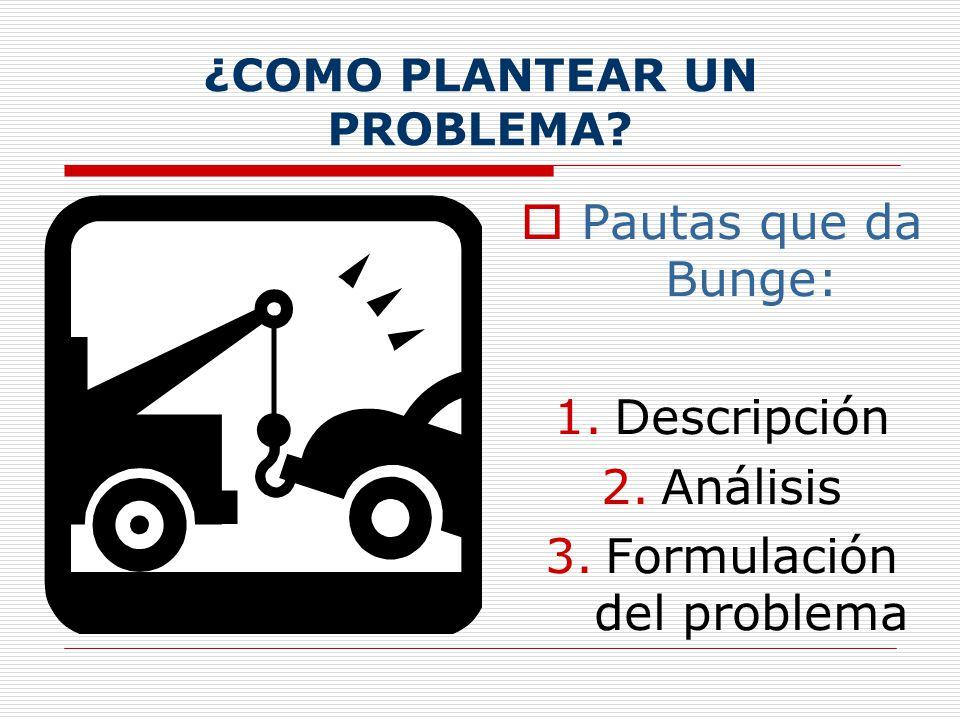Las tentativas de solución se deben derivar lógicamente del planteamiento establecido Toda condición que se establezca debe ser aplicable en la prácti