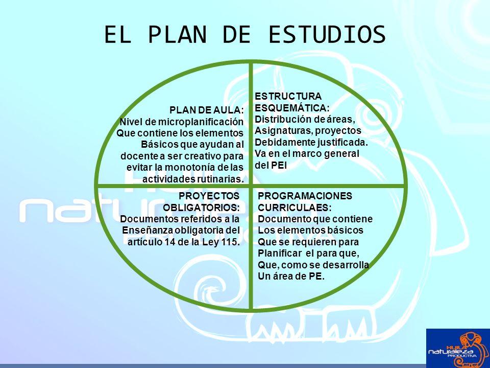 EL PLAN DE ESTUDIOS ESTRUCTURA ESQUEMÁTICA: Distribución de áreas, Asignaturas, proyectos Debidamente justificada. Va en el marco general del PEI PROG