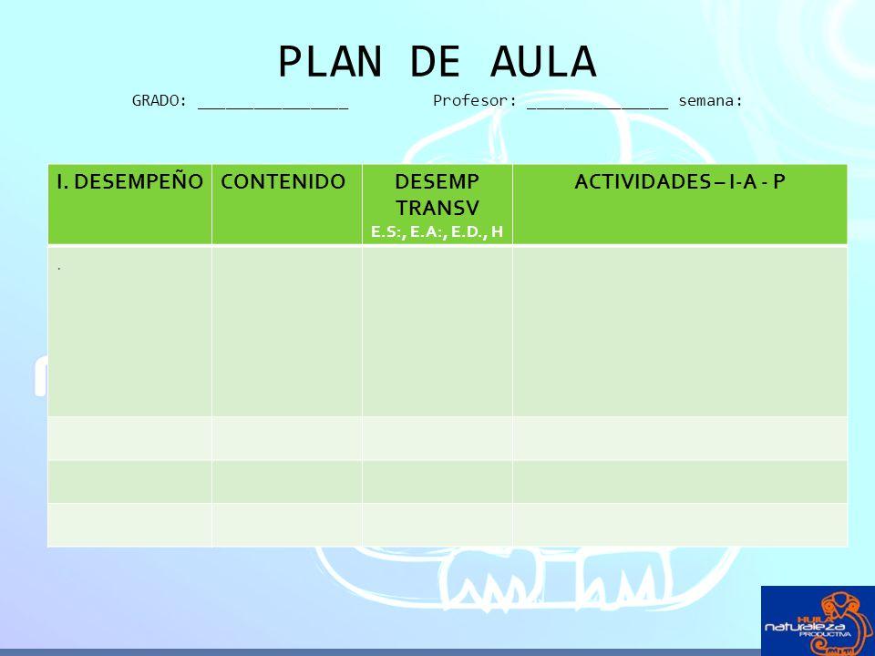 PLAN DE AULA GRADO: ________________ Profesor: _______________ semana: I. DESEMPEÑOCONTENIDODESEMP TRANSV E.S:, E.A:, E.D., H ACTIVIDADES – I-A - P.
