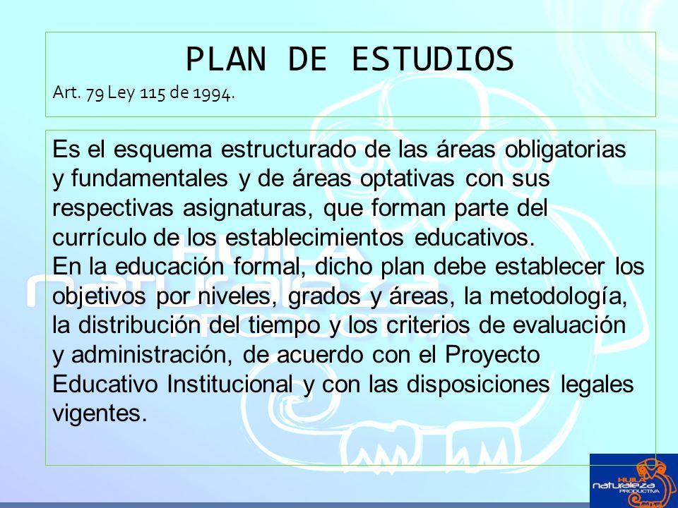 PLAN DE ESTUDIOS Art. 79 Ley 115 de 1994. Es el esquema estructurado de las áreas obligatorias y fundamentales y de áreas optativas con sus respectiva