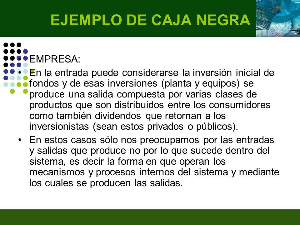 EMPRESA: En la entrada puede considerarse la inversión inicial de fondos y de esas inversiones (planta y equipos) se produce una salida compuesta por varias clases de productos que son distribuidos entre los consumidores como también dividendos que retornan a los inversionistas (sean estos privados o públicos).