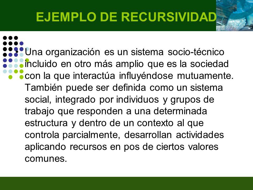 Una organización es un sistema socio-técnico incluido en otro más amplio que es la sociedad con la que interactúa influyéndose mutuamente.