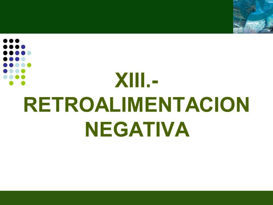 XIII.- RETROALIMENTACION NEGATIVA