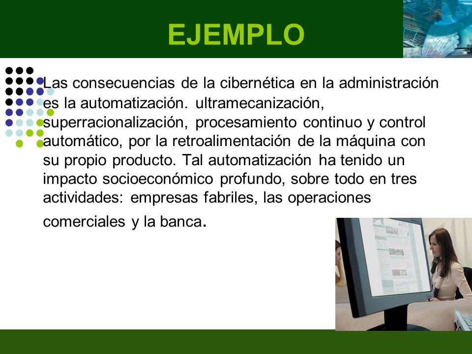 EJEMPLO Las consecuencias de la cibernética en la administración es la automatización.