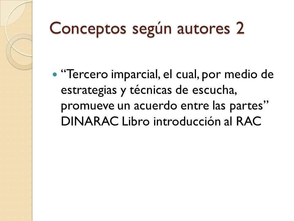 Conceptos según autores 2 Tercero imparcial, el cual, por medio de estrategias y técnicas de escucha, promueve un acuerdo entre las partes DINARAC Lib