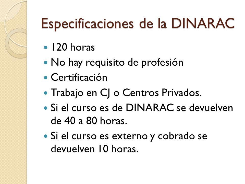 Especificaciones de la DINARAC 120 horas No hay requisito de profesión Certificación Trabajo en CJ o Centros Privados. Si el curso es de DINARAC se de