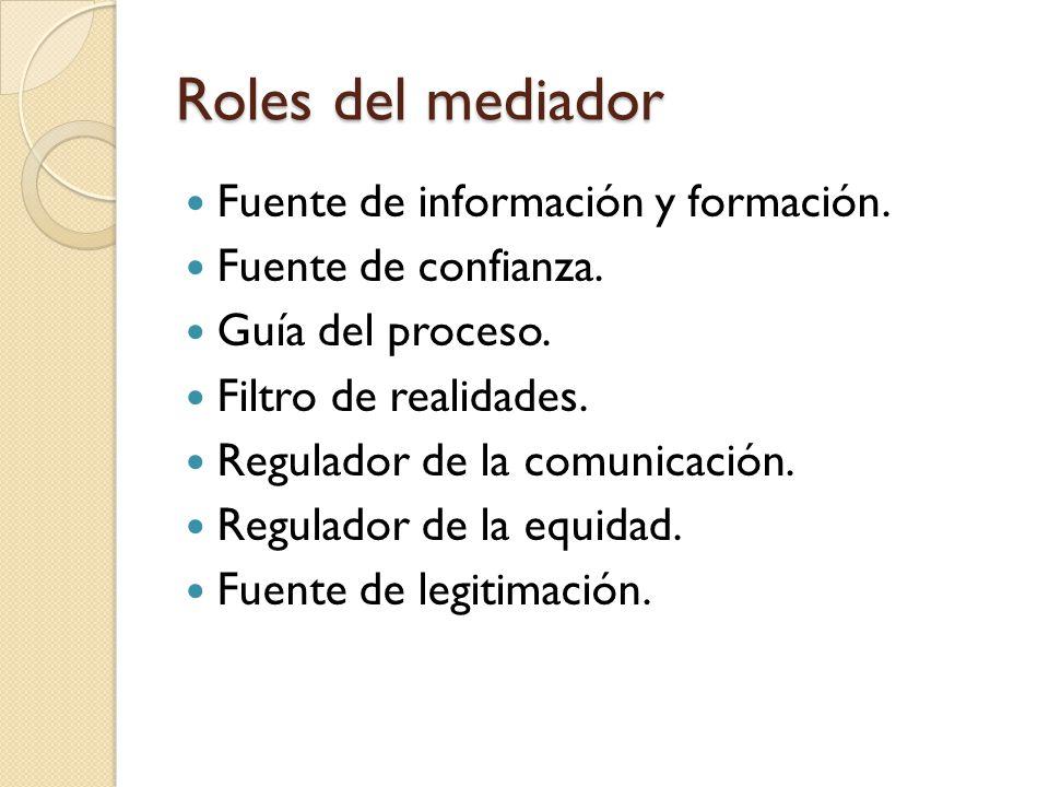 Roles del mediador Fuente de información y formación. Fuente de confianza. Guía del proceso. Filtro de realidades. Regulador de la comunicación. Regul