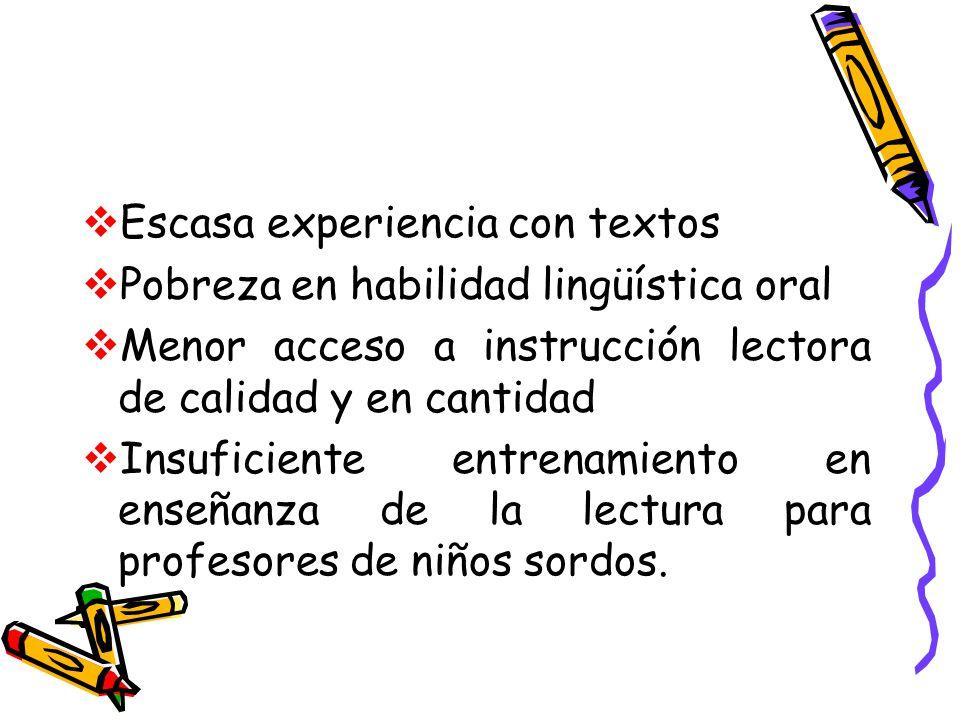 Escasa experiencia con textos Pobreza en habilidad lingüística oral Menor acceso a instrucción lectora de calidad y en cantidad Insuficiente entrenami