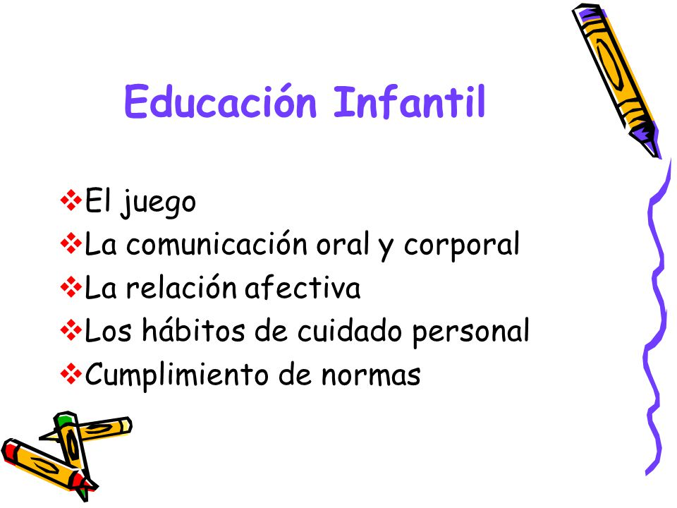 Educación Infantil El juego La comunicación oral y corporal La relación afectiva Los hábitos de cuidado personal Cumplimiento de normas