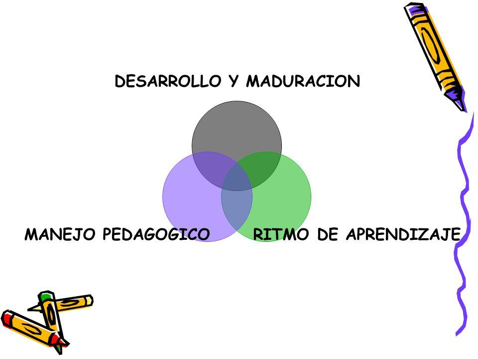 DESARROLLO Y MADURACION RITMO DE APRENDIZAJE MANEJO PEDAGOGICO