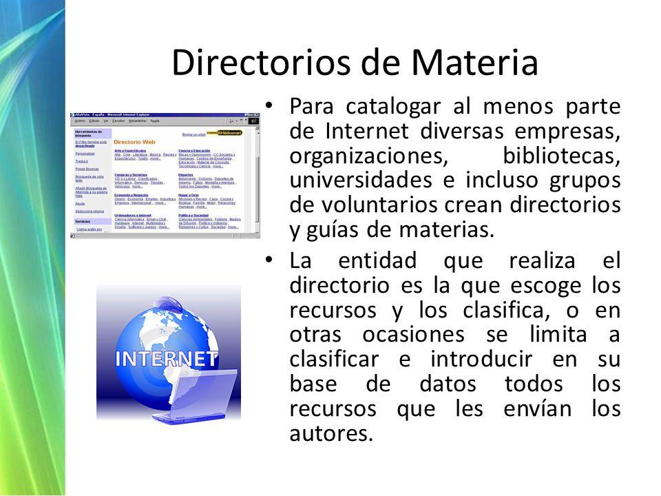 Directorios de Materia Para catalogar al menos parte de Internet diversas empresas, organizaciones, bibliotecas, universidades e incluso grupos de voluntarios crean directorios y guías de materias.