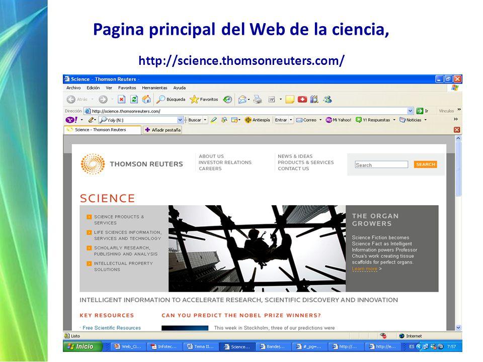 Pagina principal del Web de la ciencia, http://science.thomsonreuters.com/