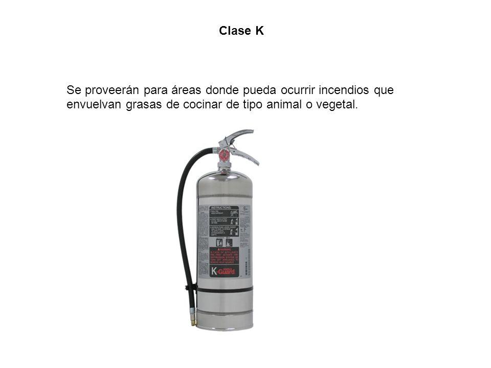 Clase K Se proveerán para áreas donde pueda ocurrir incendios que envuelvan grasas de cocinar de tipo animal o vegetal.