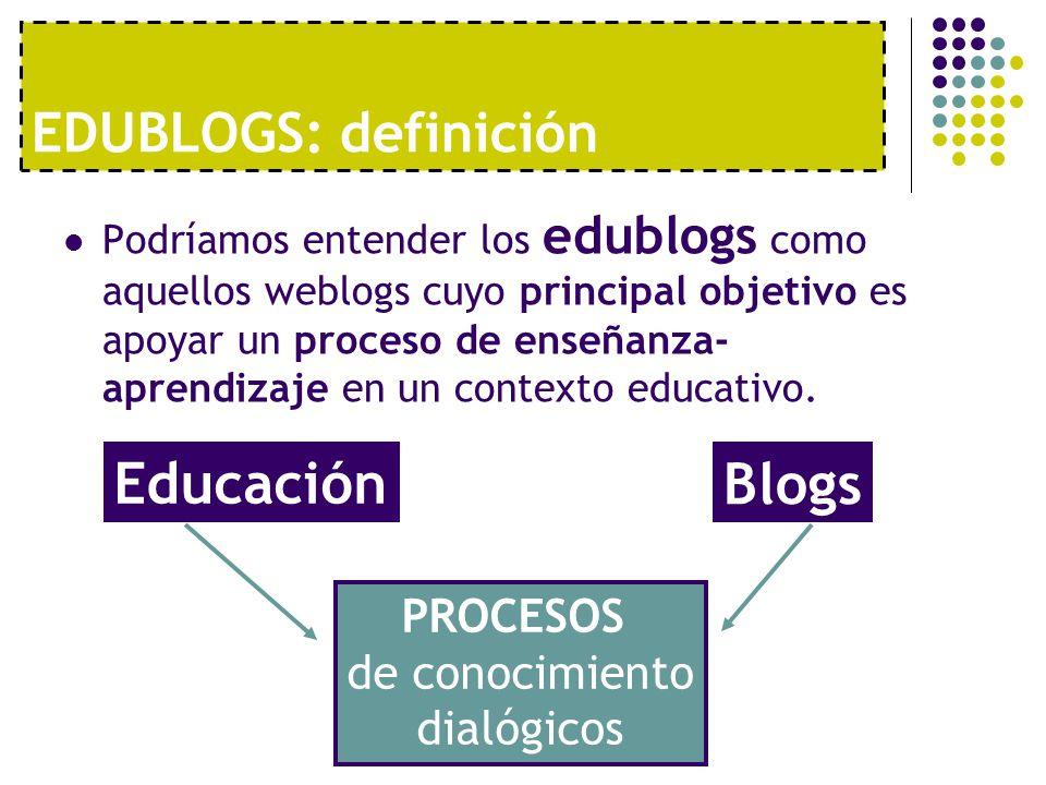 EDUBLOGS: definición Podríamos entender los edublogs como aquellos weblogs cuyo principal objetivo es apoyar un proceso de enseñanza- aprendizaje en u