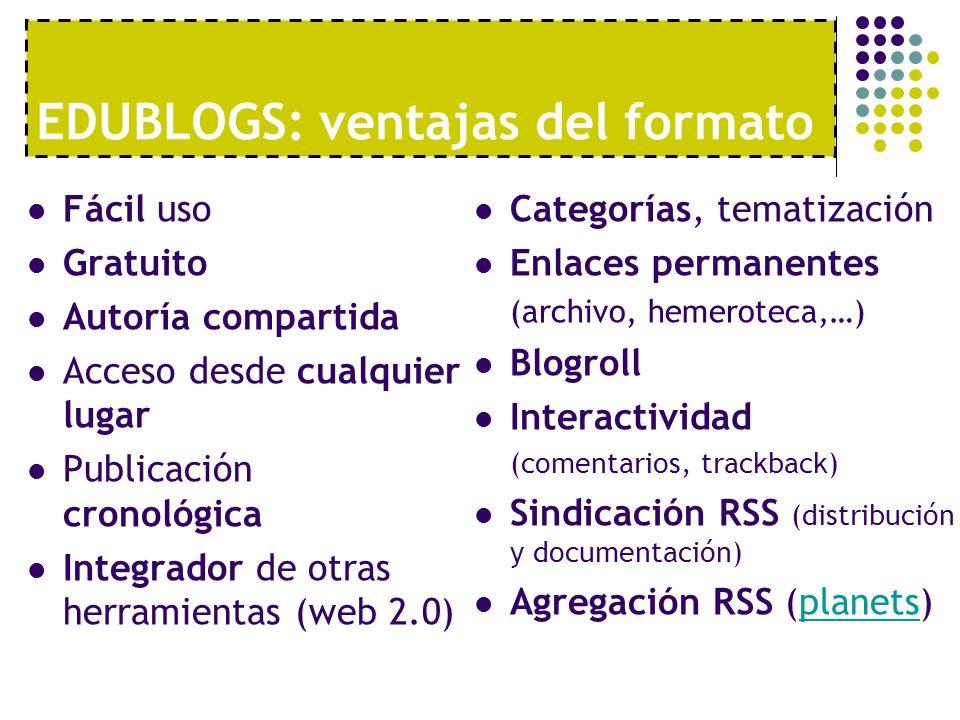EDUBLOGS: ventajas del formato Fácil uso Gratuito Autoría compartida Acceso desde cualquier lugar Publicación cronológica Integrador de otras herramie
