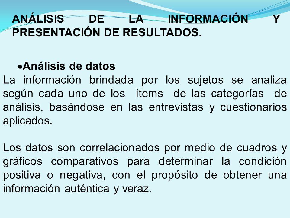 ANÁLISIS DE LA INFORMACIÓN Y PRESENTACIÓN DE RESULTADOS.