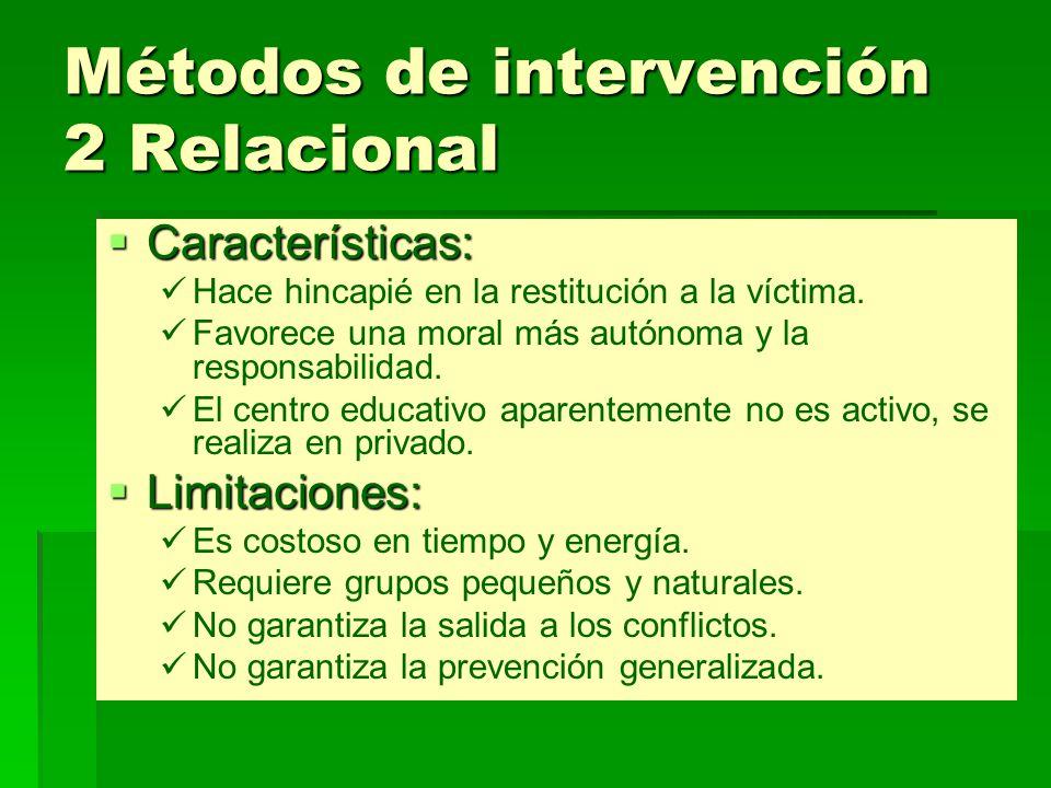 Métodos de intervención 2 Relacional Características: Características: Hace hincapié en la restitución a la víctima. Favorece una moral más autónoma y