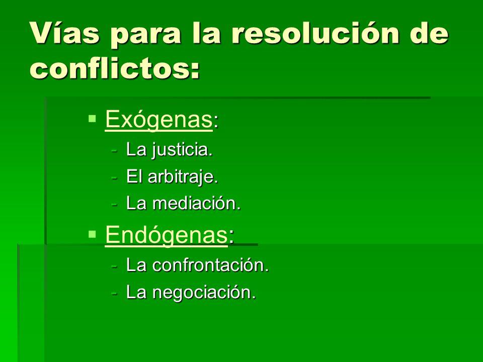 Vías para la resolución de conflictos: : Exógenas : -La justicia. -El arbitraje. -La mediación. : Endógenas: -La confrontación. -La negociación.
