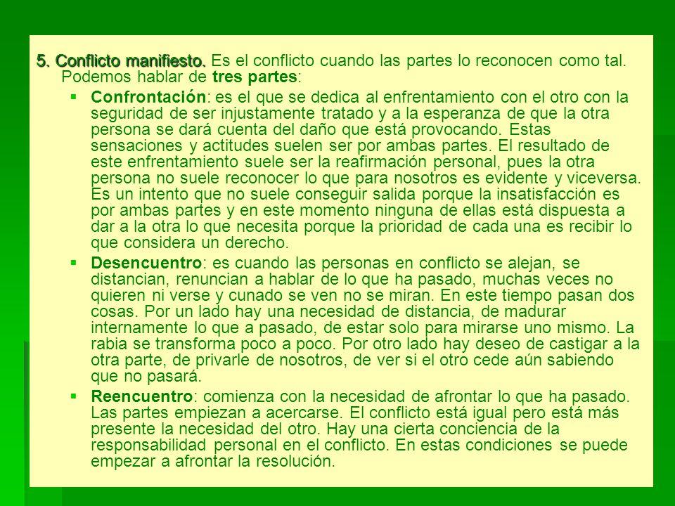 5. Conflicto manifiesto. 5. Conflicto manifiesto. Es el conflicto cuando las partes lo reconocen como tal. Podemos hablar de tres partes: Confrontació